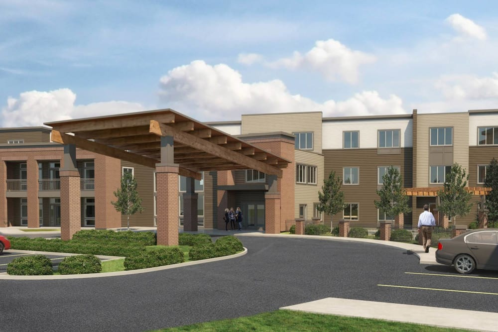 A rendering of the parking lot and main entrance at Brightwater Senior Living of Tuxedo in Winnipeg, Manitoba