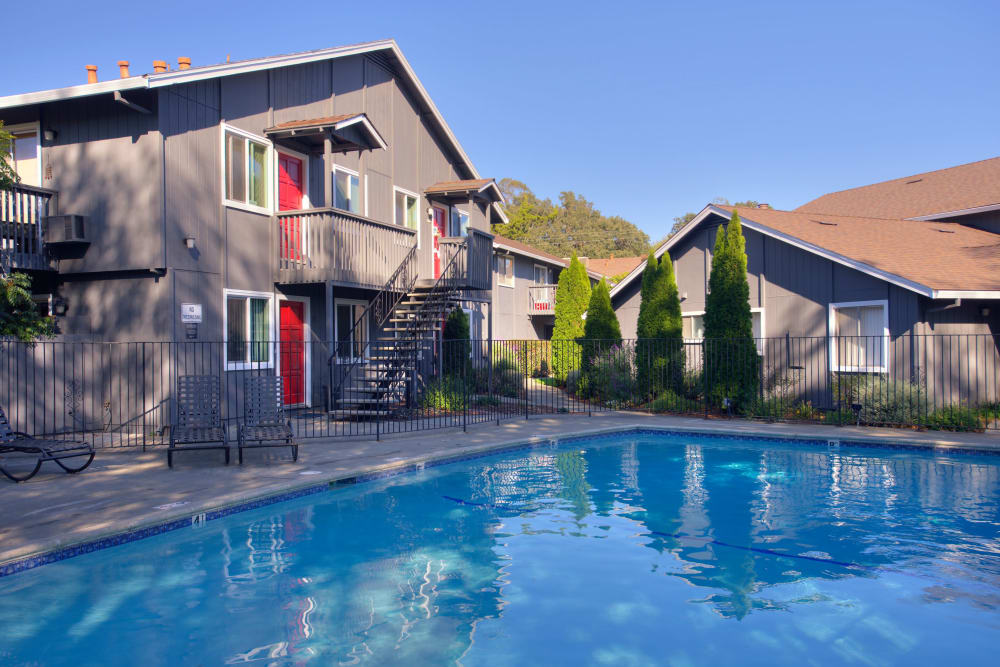 Outdoor swimming pool at Spring Lake Apartment Homes in Santa Rosa, California
