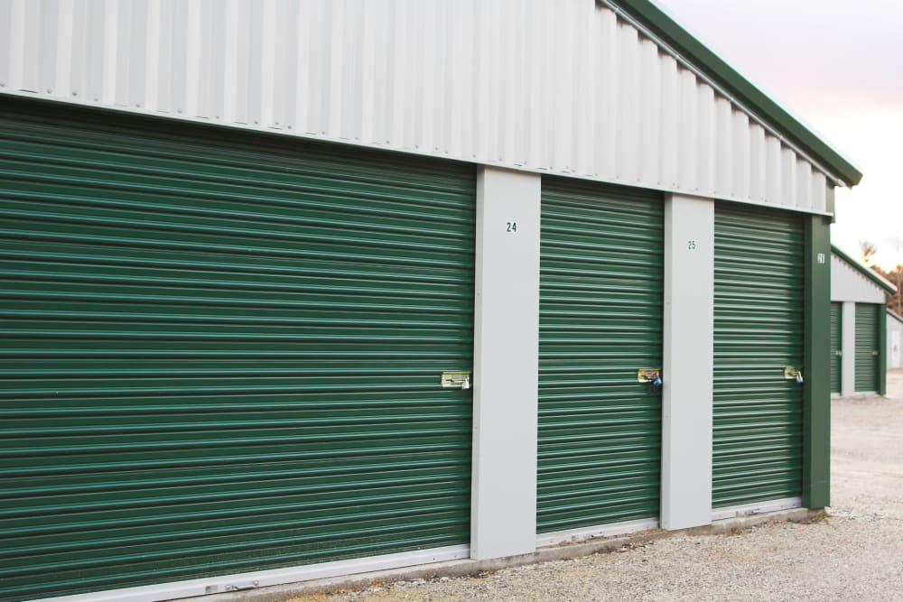 Locks on exterior storage unit doors at Extra Attic Mini Storage in Sandston, Virginia