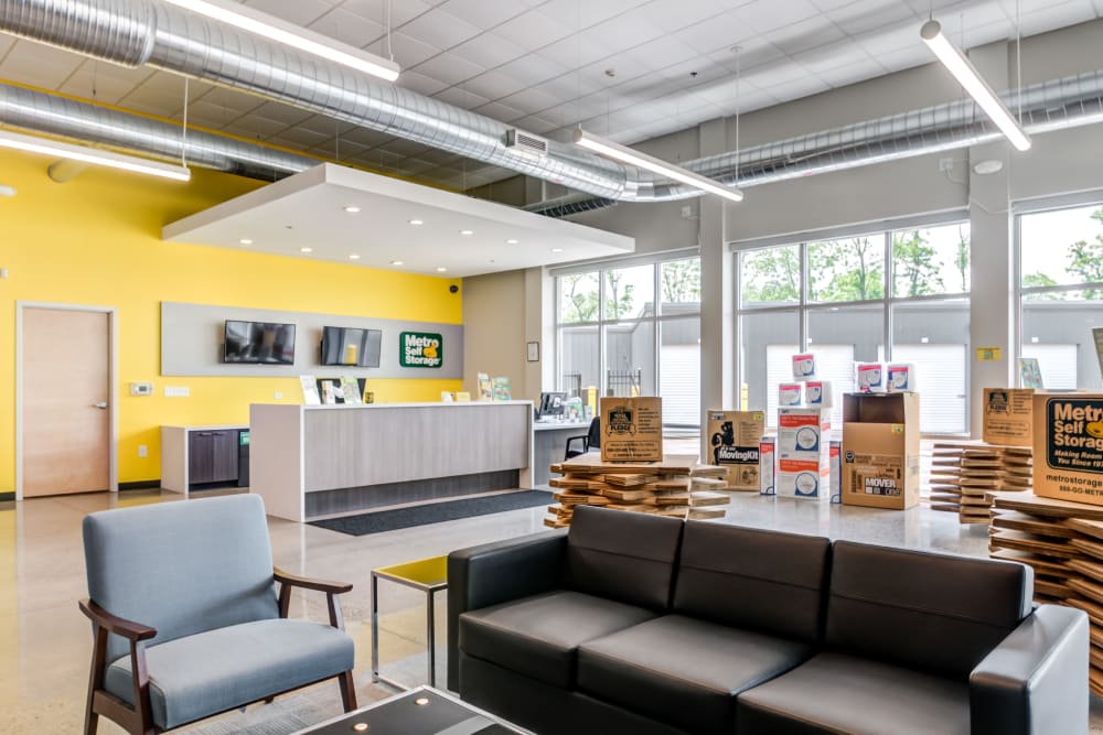 Leasing office waiting area at Metro Self Storage in Mount Laurel