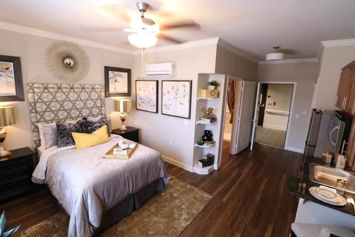 A beautiful bedroom at Landing at Watercrest Shadow Creek Ranch in Pearland, Texas