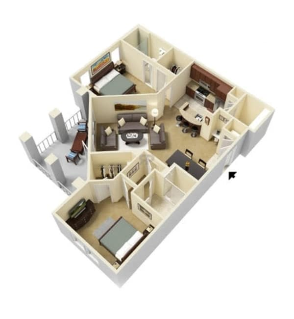 Two bedroom floor plan at Integra Hills Preserve Apartments in Ooltewah, Tennessee