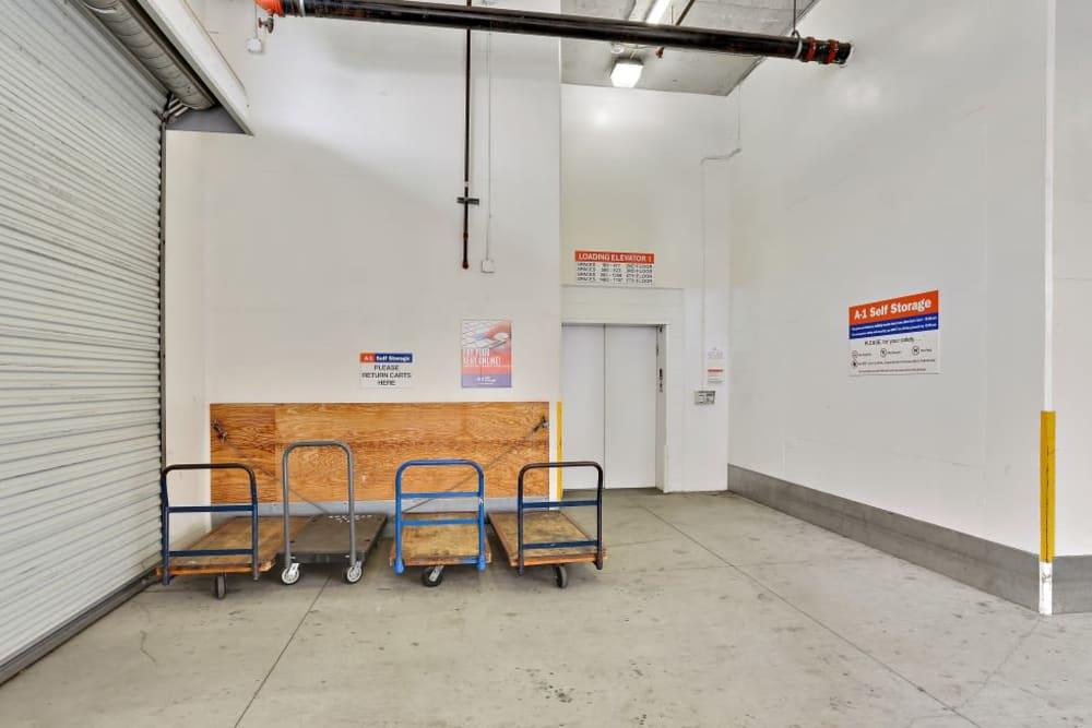 Carts make storage simple at A-1 Self Storage in San Diego, California