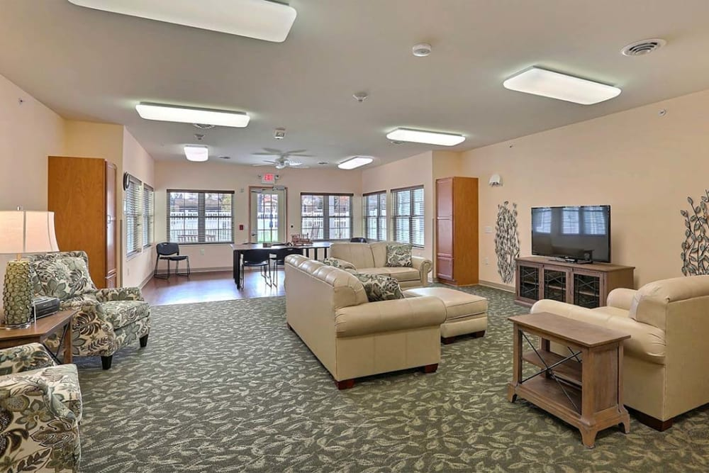 Resident TV lounge and activity room  at Milestone Senior Living Tomahawk in Tomahawk, Wisconsin.