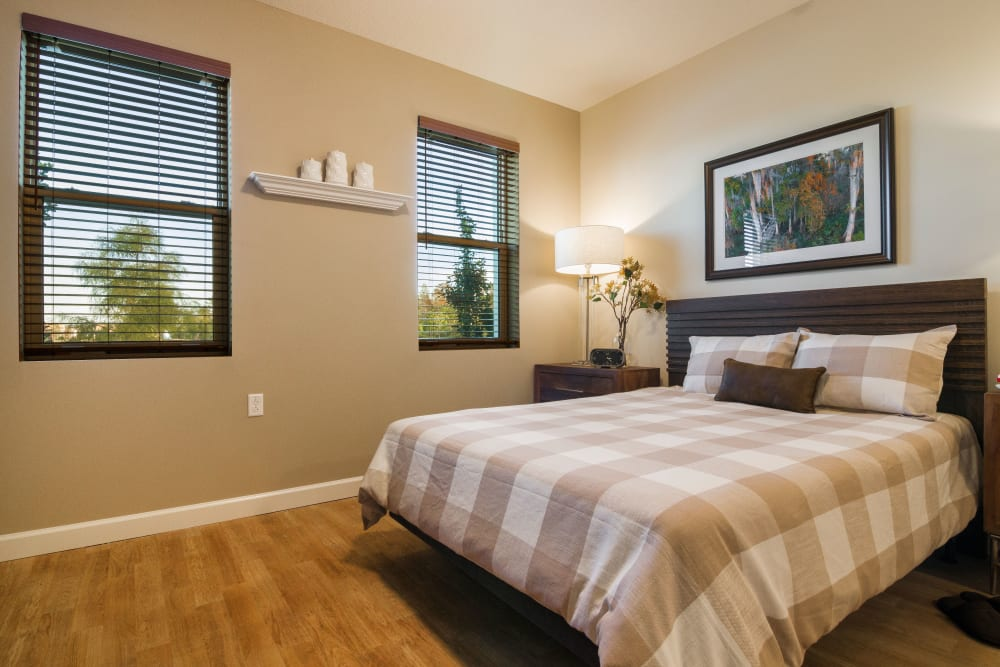 A resident bedroom at CERTUS Premier Memory Care Living.