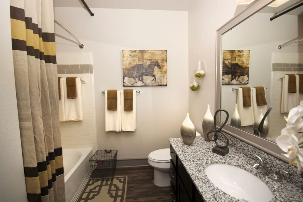 Bathroom layout at The Sovereign in Fort Worth, Texas