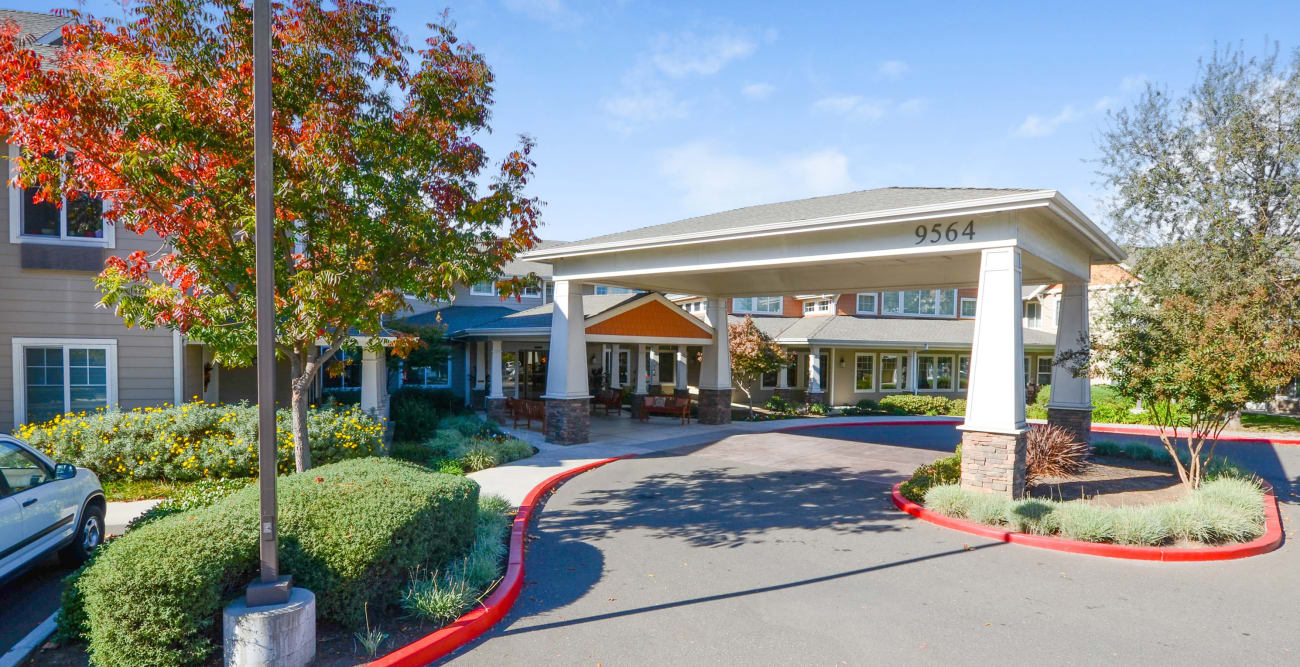 Our senior living community front entrance in Elk Grove, California