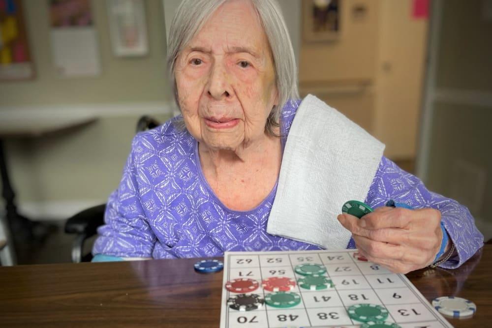 Residents play bingo at Corridor Crossing Place in Cedar Rapids, Iowa