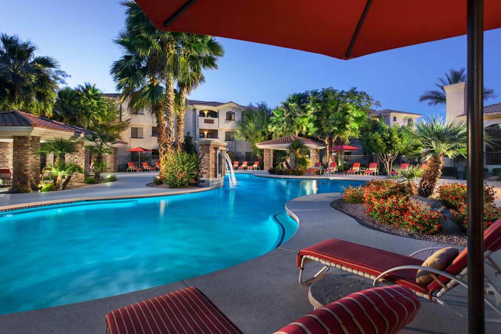 Beautiful swimming pool at dusk at San Hacienda in Chandler, Arizona