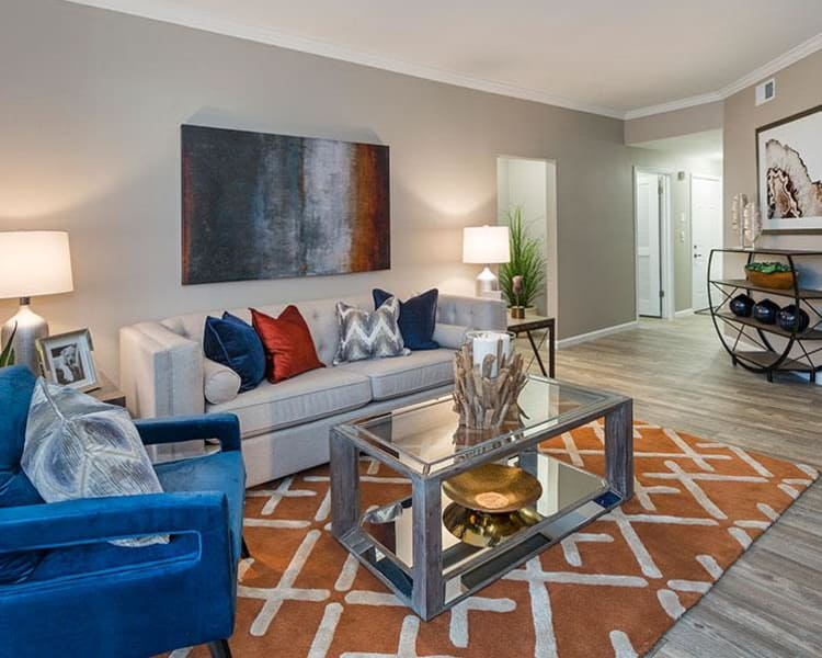 Living room at Retreat at Cheyenne Mountain Apartments
