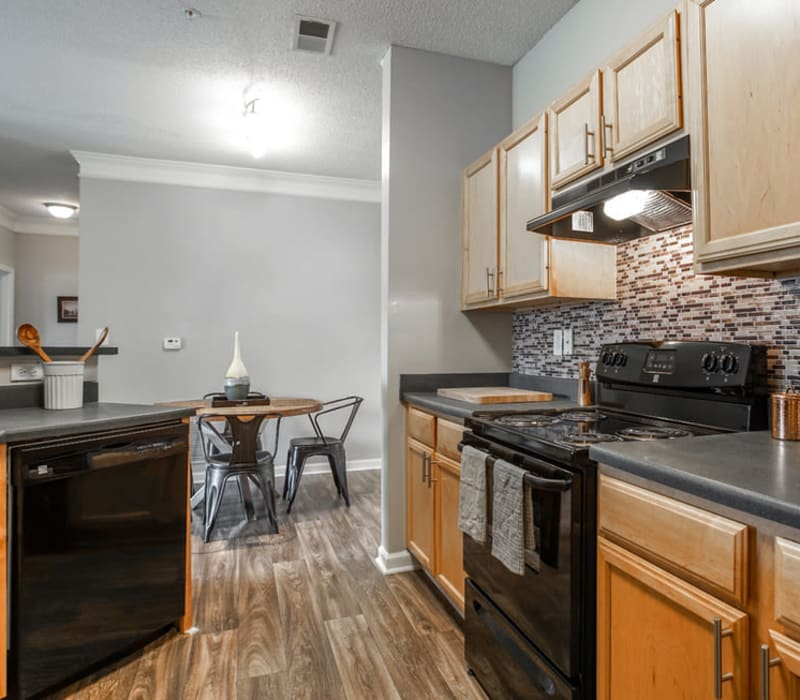 Fully equipped kitchen at Meadow View in College Park, Georgia