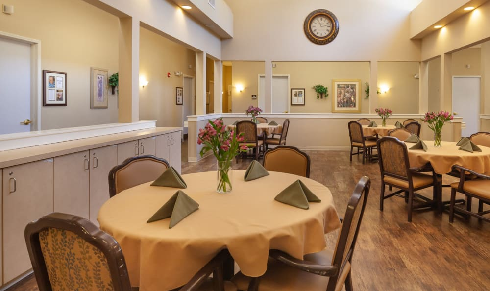 Dining room at senior living facility in Portland, Oregon