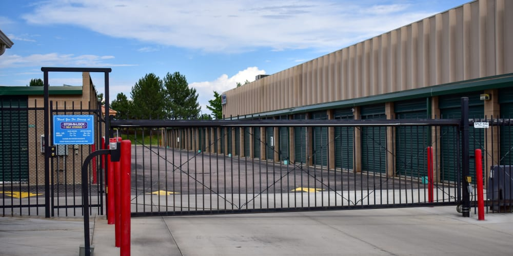 The front gate at STOR-N-LOCK Self Storage in Littleton, Colorado