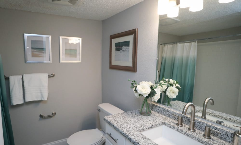 Renovated bathroom include granite counters at Ridgeview Apartments in Seminole, Florida
