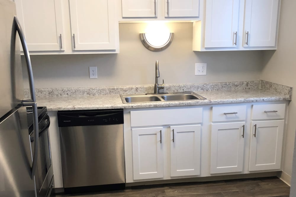 Beautiful counters in Kitchen at Eagle Crest Apartments in Lakewood, Colorado
