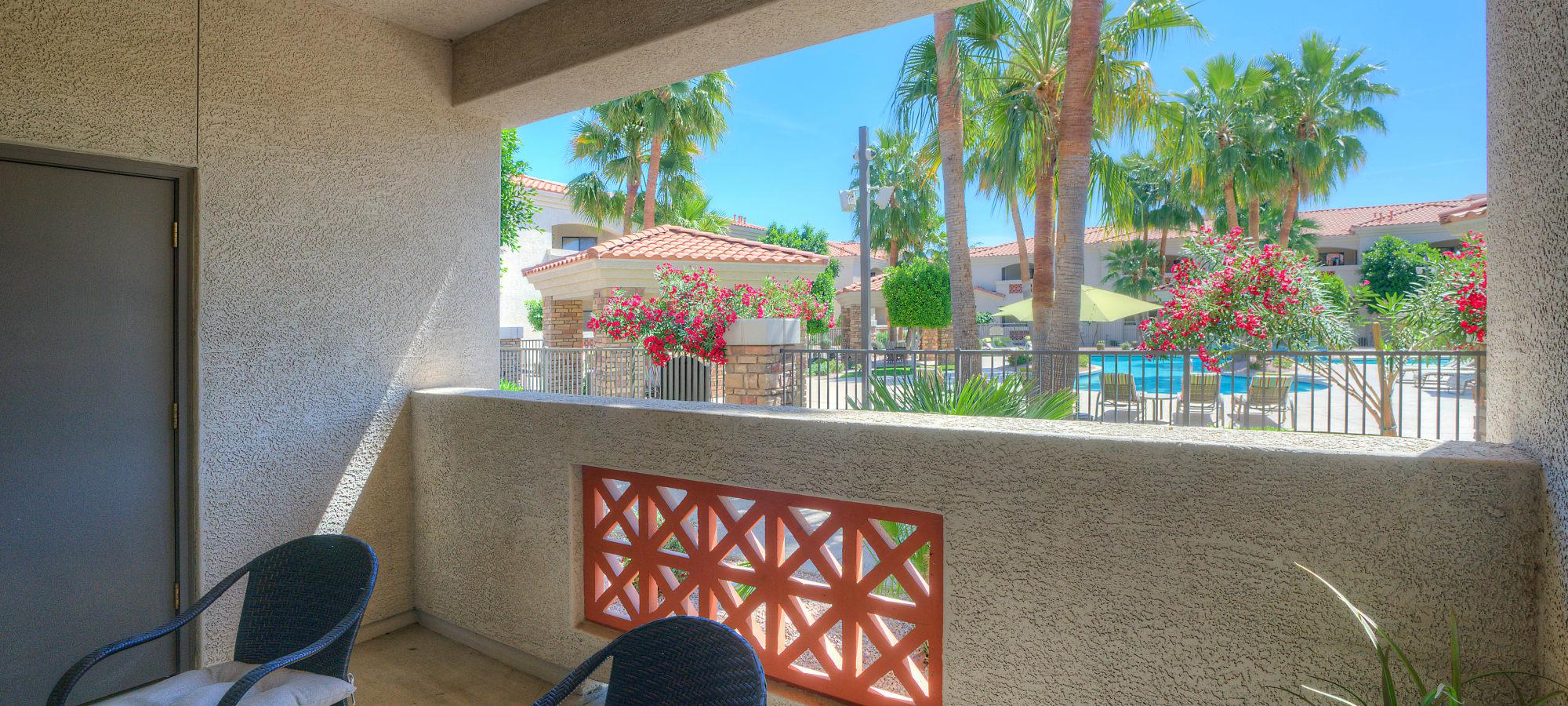Private patio at San Prado in Glendale, Arizona