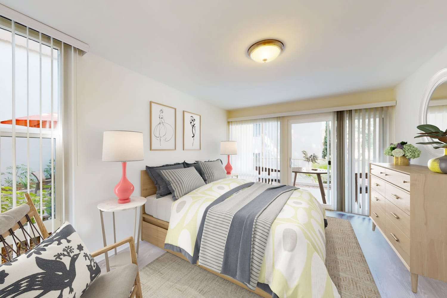 One bedroom home's bedroom with plush carpeting at West Park Village in Los Angeles, California