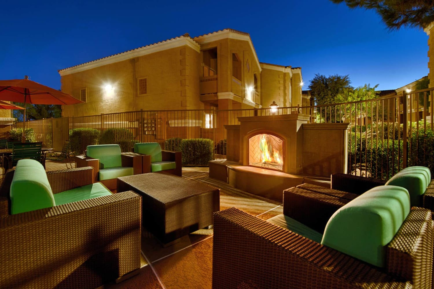 Patio with warm fireplace at 2150 Arizona Ave South in Chandler, Arizona