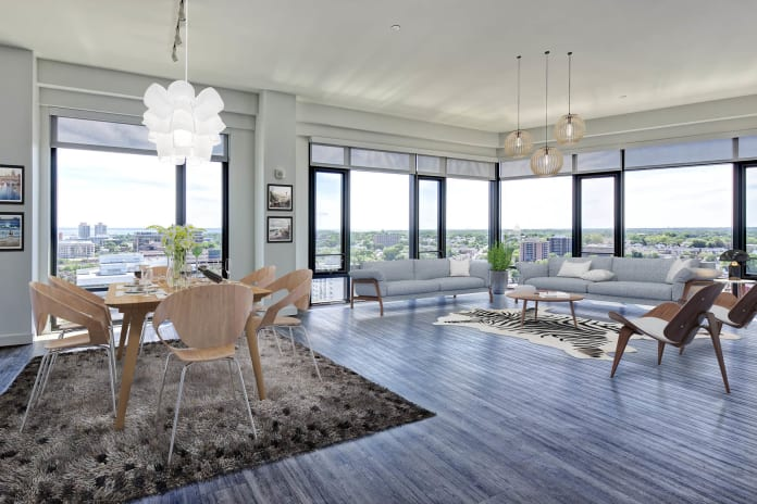 Penthouse Apartment Living Room at Vela on the Park in Stamford, CT