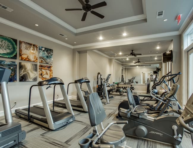 Fitness center for residents at Rienzi at Turtle Creek Apartments in Dallas, Texas