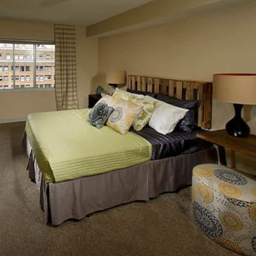 Standard master bedroom at The Mill at First Hill in Seattle, Washington
