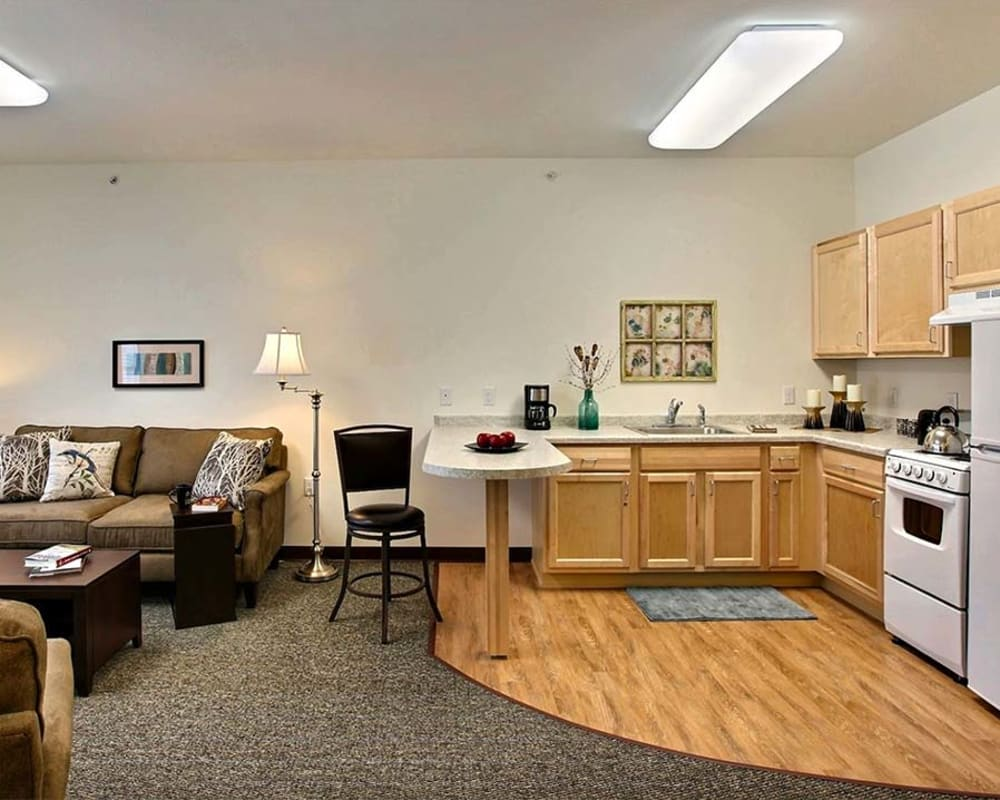 Spacious apartments are available at Milestone Senior Living in Woodruff, Wisconsin.