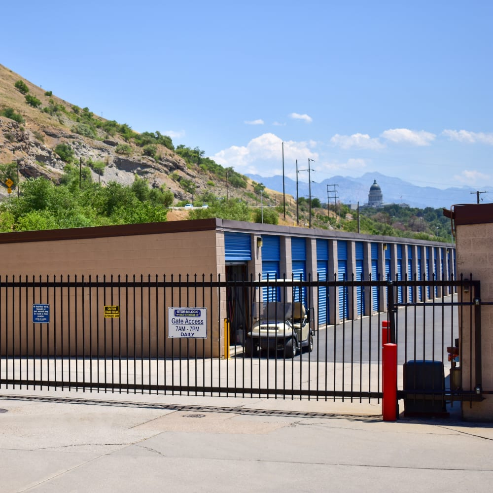 The secure front gate at STOR-N-LOCK Self Storage in Salt Lake City, Utah