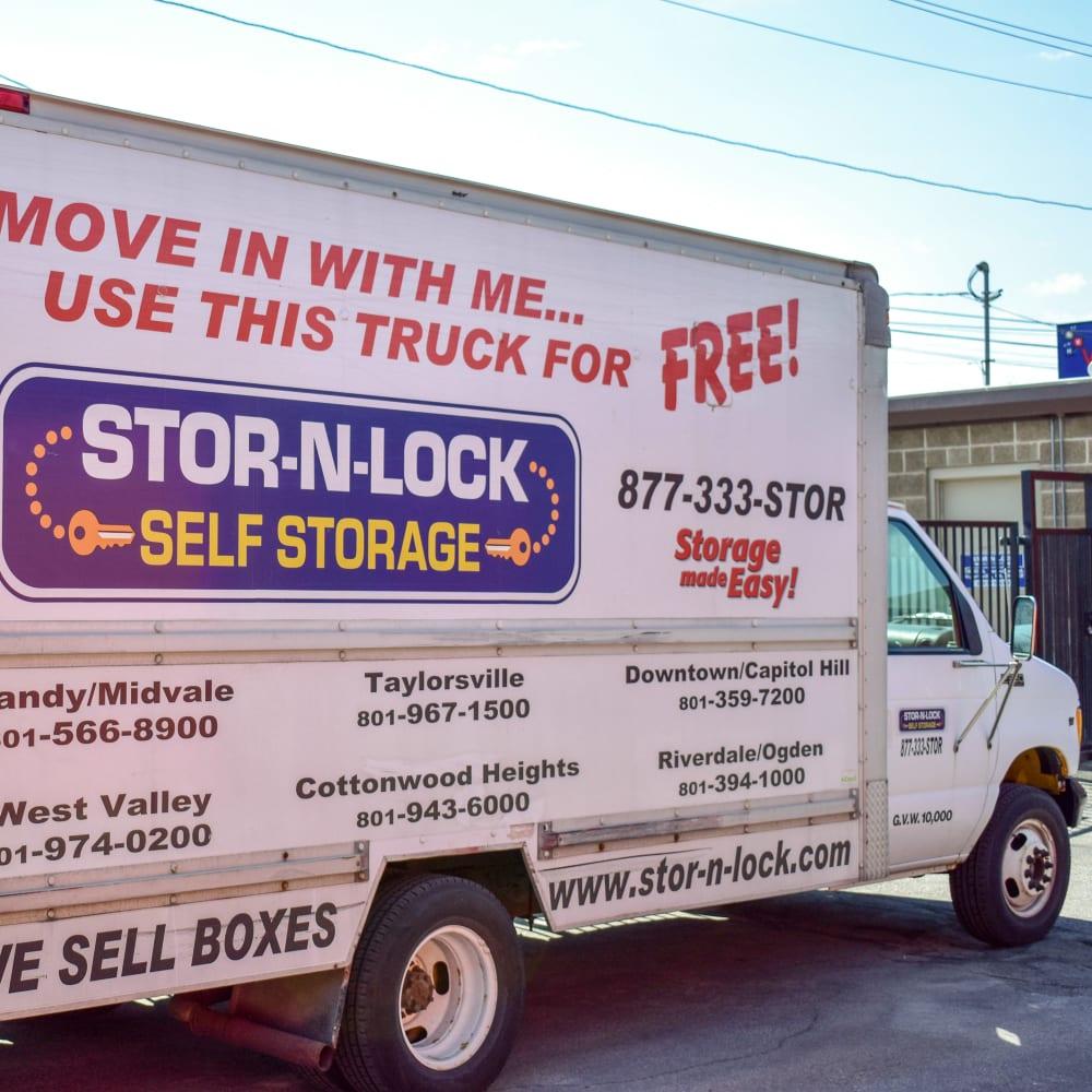 Moving truck at STOR-N-LOCK Self Storage in Cottonwood Heights, Utah