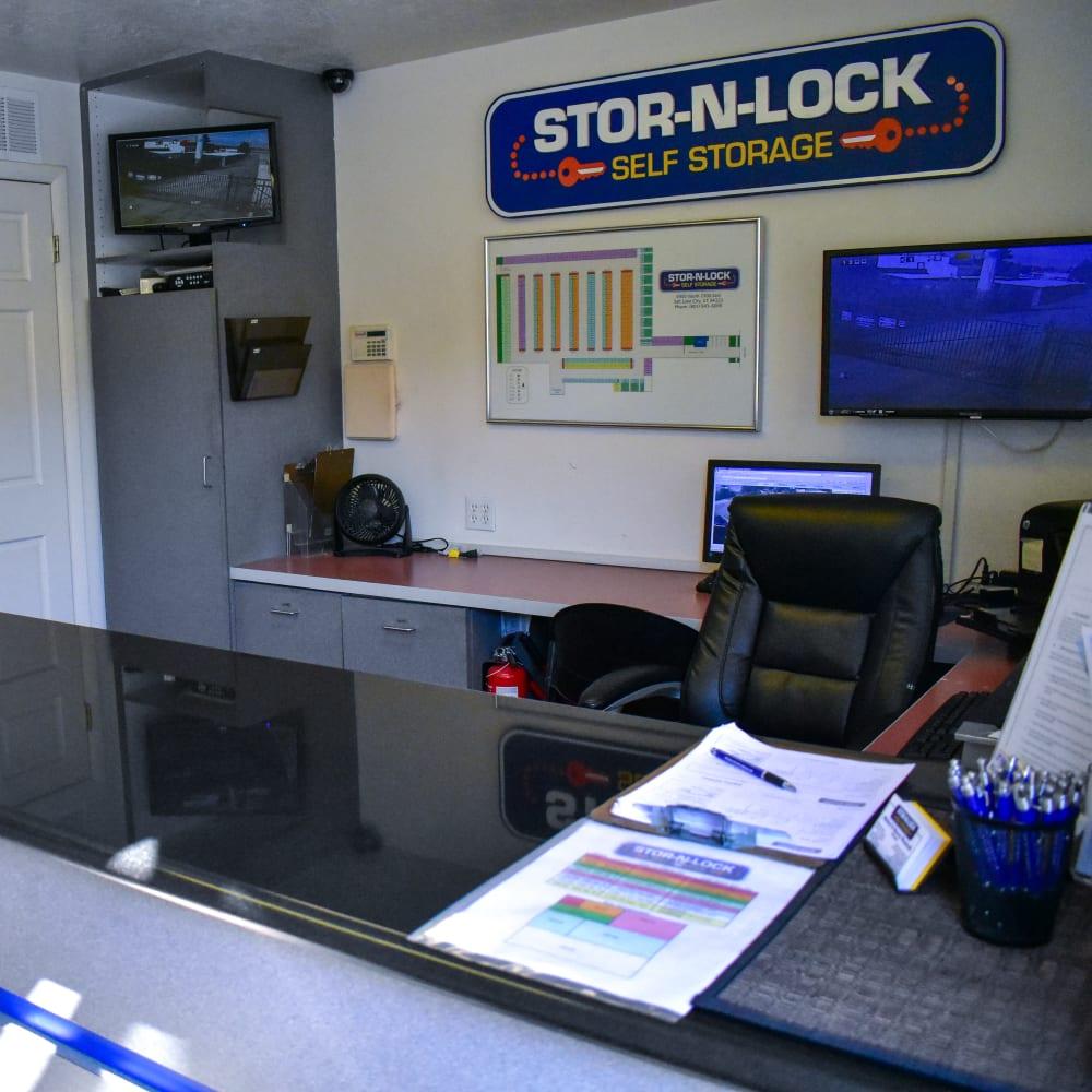 Inside the welcoming office at STOR-N-LOCK Self Storage in Cottonwood Heights, Utah