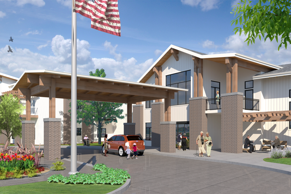 A rendering of the driveway to the main entrance at Preston Greens in Lexington, Kentucky