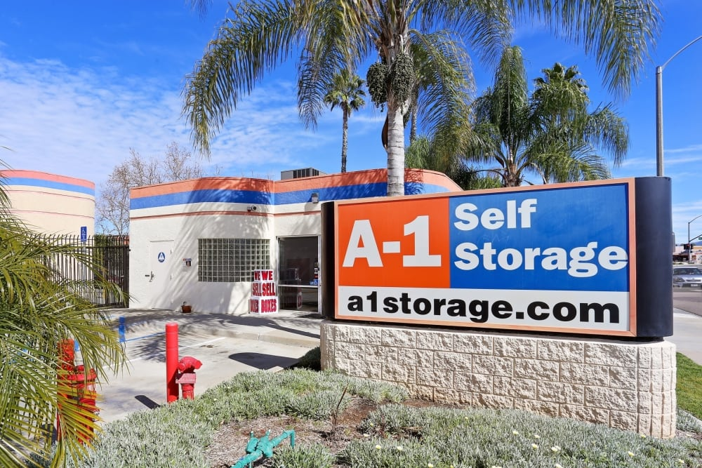 The front entrance to A-1 Self Storage in El Cajon, California