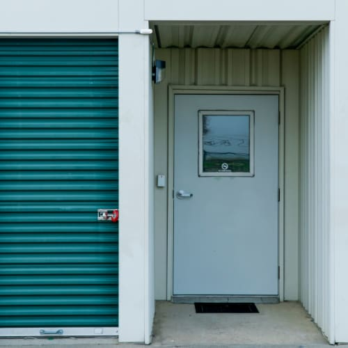 Doors to climate-controlled indoor storage units at Red Dot Storage in Port Allen, Louisiana