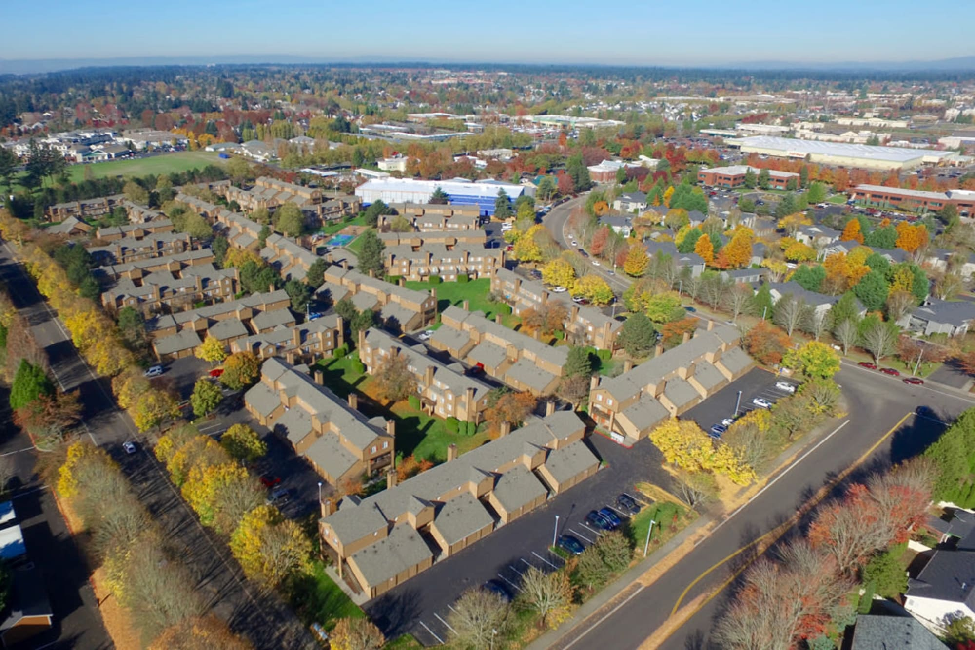 Aerial view of the property and surrounding area at Renaissance at 29th Apartments in Vancouver, Washington