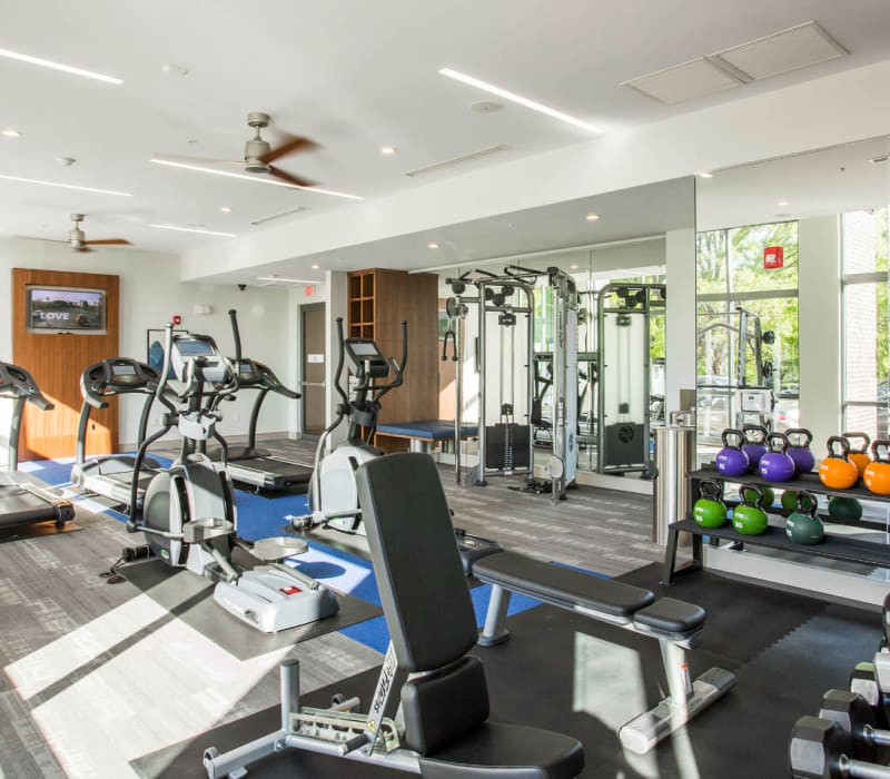 Fitness room with kettle bells, free weights, benches, and cardio machines at Marq Midtown 205 in Charlotte, North Carolina