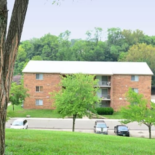 Exterior with plenty of parking for residents and guests at Lafeuille Apartments in Cincinnati, Ohio