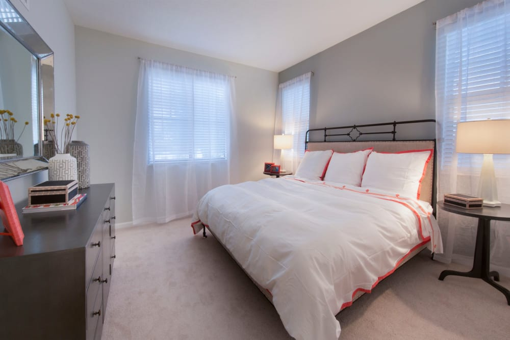 Spacious guest bedroom at Doral Station in Miami, Florida