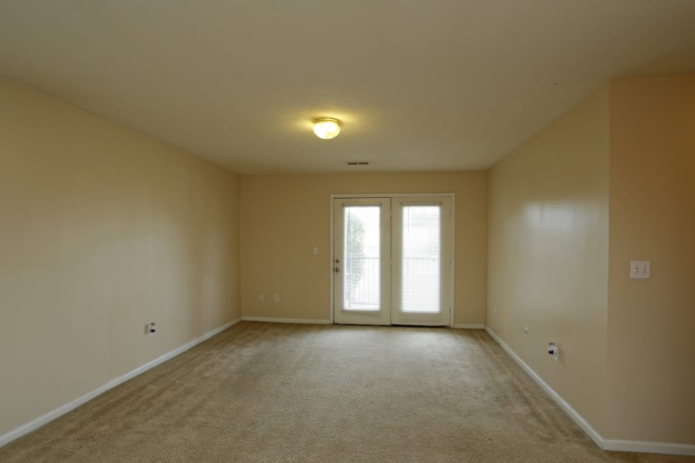 A carpeted apartment living room at Ashton Park Apartments in Gulfport, Mississippi