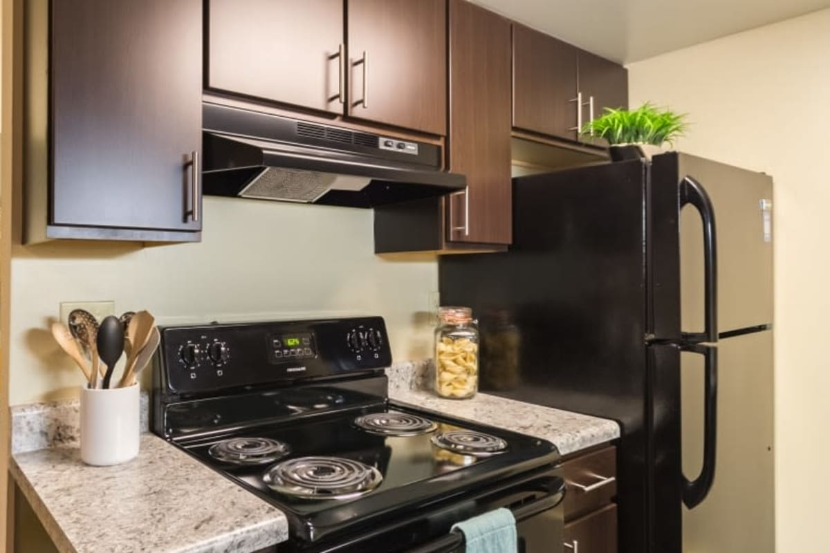 Modern kitchen in model apartment at Governours Square in Columbus, Ohio