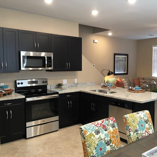 Well-decorated kitchen in model home at Vistancia in Peoria, Arizona