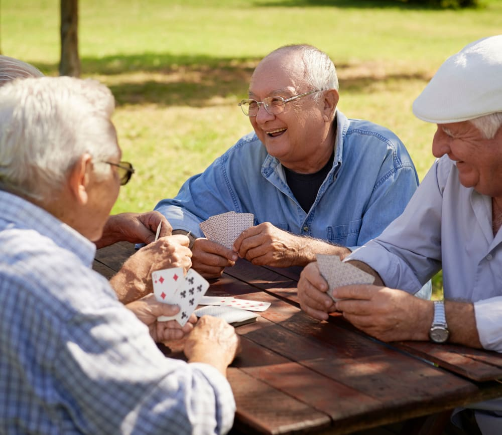 Residents playing cards at Clearwater at Rancharrah in Reno, Nevada