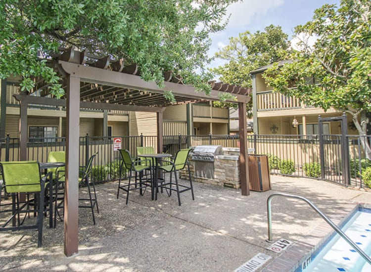 Covered pool patio at Stonecrossing of Westchase in Houston, Texas.