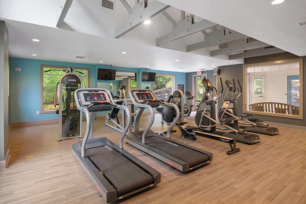 Fitness center with plenty of workout stations at Waterhouse Place in Beaverton, Oregon