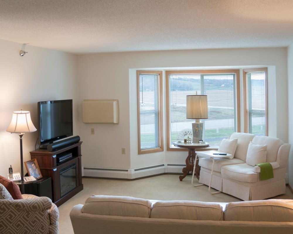 Spacious floor plans with a full living room and picture windows at Meadow Lakes Senior Living in Rochester, Minnesota.