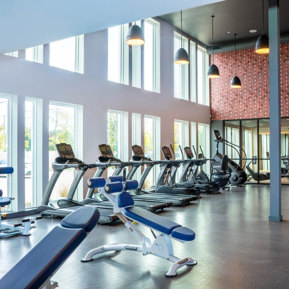 Full sized fitness center for residents at The Langford in Dallas, Texas