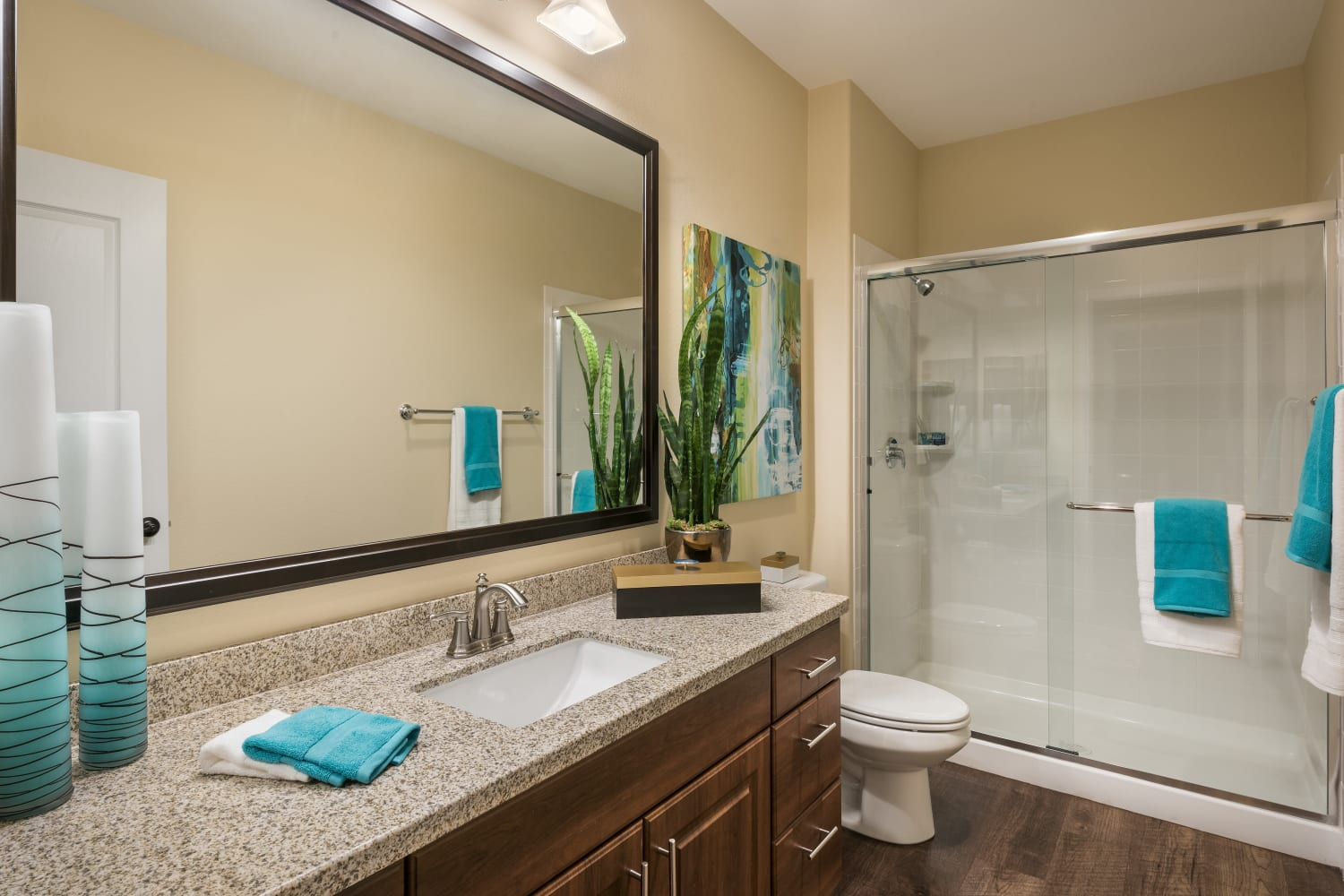 One Bathroom with shower and window at San Valencia in Chandler, Arizona