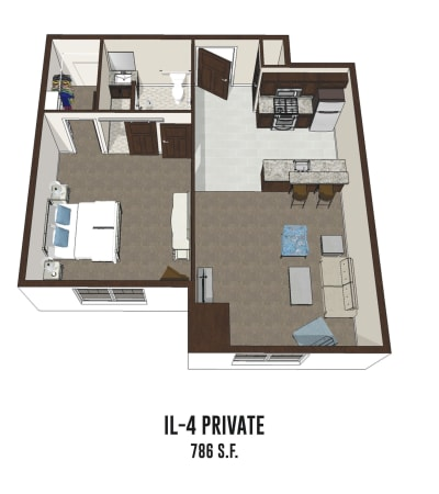Independent living private room 4 is 786 square feet at New Albany in New Albany, Ohio.