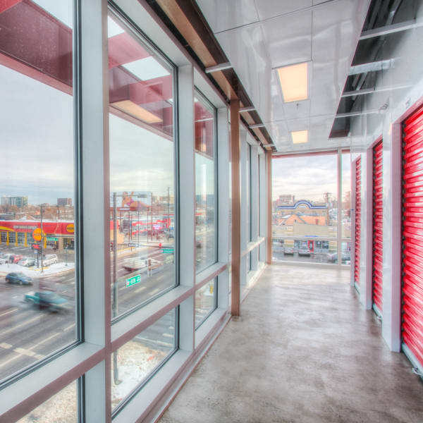 Climate-controlled interior units and windows at StorQuest Self Storage in Denver, Colorado