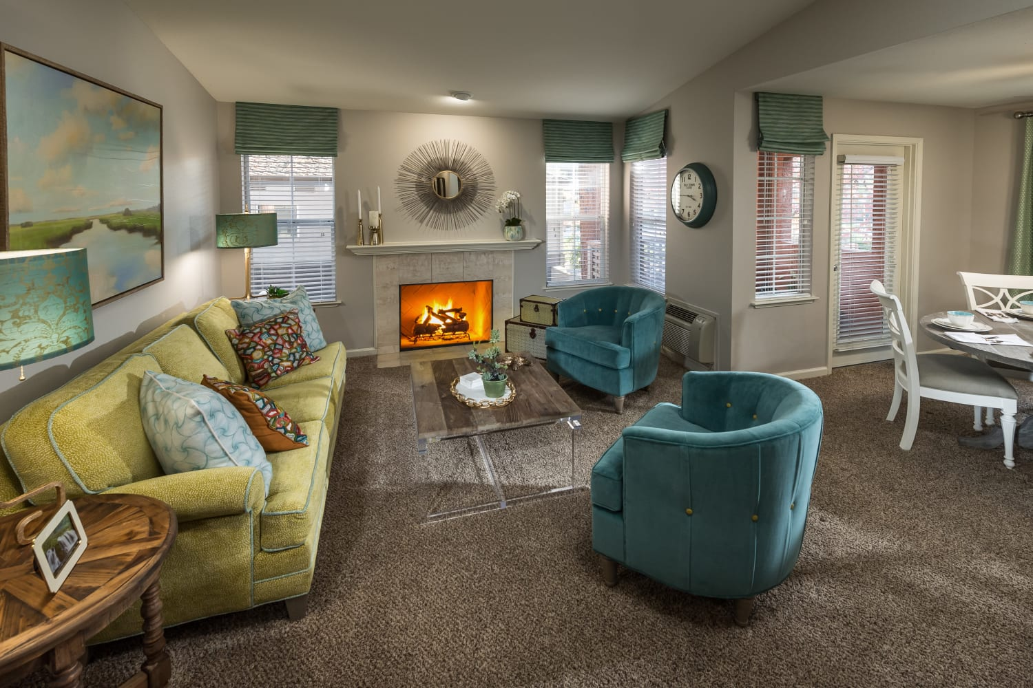 Well appointed living room at Bella Vista Apartments in Santa Clara, California