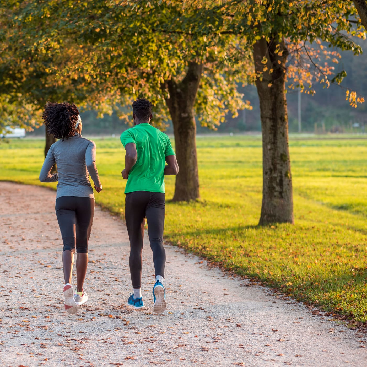 Couple jogging in Washington, District of Columbia near Fort Stevens Place Apartments