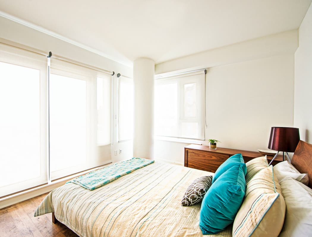 Beautiful bedroom at 19Twenty Apartments in Halifax, Nova Scotia